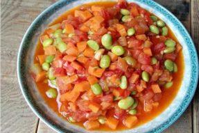 【素食菜谱】夏季素食菜谱之胡萝卜烧毛豆